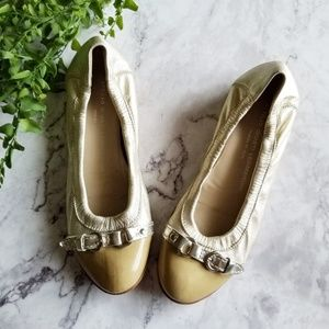 AGL | Gold Leather Cap Toe Buckle Ballet Flats